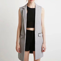 Notched Collar Sleeveless Vest Top