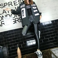 """""""Adidas"""" Fashion Casual Numeral Letter Print Women Long Sleeve Cardigan Buttons Shirt Tops"""