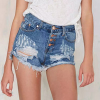 Women Vintage Ripped Hole Fringe Blue Denim Shorts Casual Pocket Jeans Shorts Exposed Buttons Hot Shorts