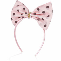 GIRLS PINK POLKA DOT NET BOW ALICE BAND