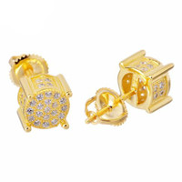 Mini Round Shape Side Stone Gold Plated Earring