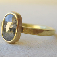 Fairtrade 18k Gold, Rustic Diamond Engagement Ring. 1.26ct Rose Cut Diamond with Cloudy Charcoal Swirls.