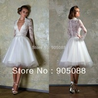 New Arrival 2014 Long Sleeves Cocktail Dresses V Neck Appliqued Formal White Lace Prom Dress A Line Tulle Short Prom Dresses