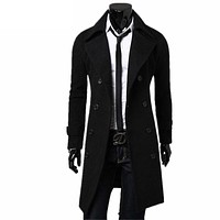 Hot Parka Men Casual Slim Fit Windbreak Solid Long Coat Mens Overcoat Winter Jacket Homme Plus Size Mens Christmas Jackets