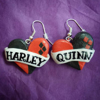 Harley Quinn Heart & Banner Earrings