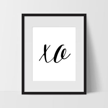 XO Typography Wall Art, Black and White Modern Art, Prints