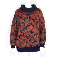 Sz 3X Oversized 80s Women's Sweater - Rose Patterned Cowl Neck Red Black Gold Plus Size Pullover Knit Jumper