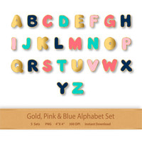 Gold Pink and Blue Alphabet Letters Gold Alphabet Clipart Letter Clipart Alphabet Set Digital Alphabet Clip art Gold Letters Pink Letters