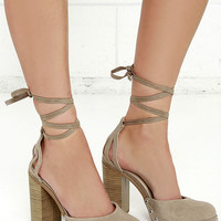 Seychelles Drift Taupe Suede Leather Lace-up Heels