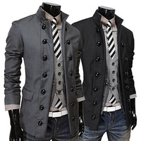 Double Breasted Slim Fit Men Designer Blazer Jacket