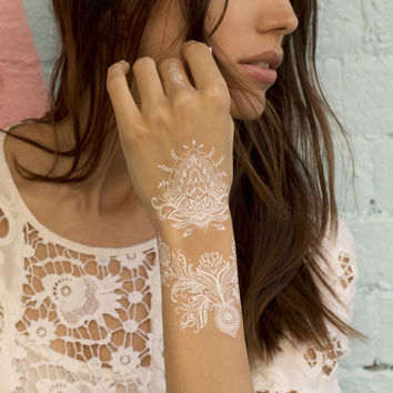 White Lace Henna Temporary Tattoo. Pack of 2 sheets