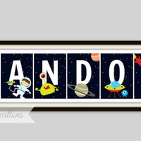Astronaut Print  - Personalized Name Print, Boy's Room Decor, Playroom, Astronaut Nursery, Outer Space Decor, Rocket Print