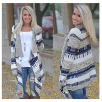 Women Long Sleeve Knitted Cardigan Loose Sweater Outwear Jacket Coat Sweater [6435030020]