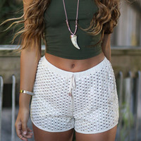 Malibu Beach Beige Sequined Shorts