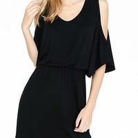 Black Cold Shoulder Elastic Waist Dress from EXPRESS