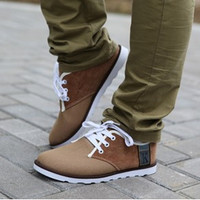New Mens Canvas Flat Casual Shoes