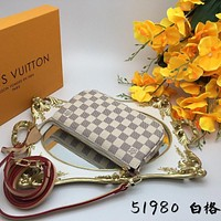 LV Louis Vuitton DAMIER CANVAS POCHETTE ACCESSORIES HANDBAG INCLINED SHOULDER BAG