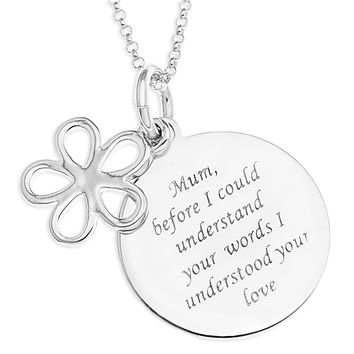 DAISY CHARM OVER ROUND MUM MESSAGE DISC - STERLING SILVER