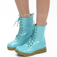 Marley Mint Teal Rubber Shiny Combat Boots