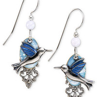 Silver Forest Earrings, Silver-Tone Blue Hummingbird Filigree Drop Earrings - All Fashion Jewelry - Jewelry & Watches - Macy's