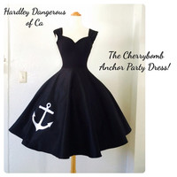 SALE Black Anchor Party Dress, Capped Sleeve Rockabilly Pinup Bridesmaid Knit Sateen Knee Length Sexy Special Occasion, Handmade in the USA