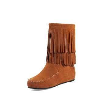 Tassel Mid Calf Boots Winter Shoes for Woman 2524