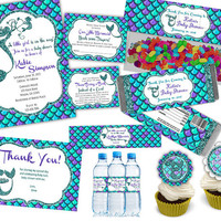 Under The Sea Baby Shower Party Package - Mermaid Baby Shower Complete Pack - Personalized Shower Kit - Girl Baby Shower Supplies Set Purple