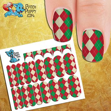 Red, Green and white Diamond Pattern Nail Wraps