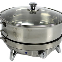 New Oster CKSTBSCDR65 6.5 Qt Electric Round Chafing Dish Food Stainless Steel