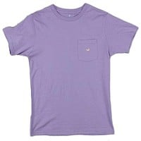 Embroidered Pocket Tee in Lilac Purple w/ Peach by Southern Marsh