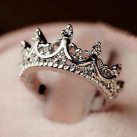 Womens Silver Crown Clear Crystals Rings