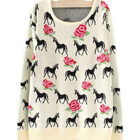 Beige Horses And Roses Print Sweater