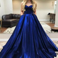 Prom Dress With Pockets Satin Strapless Royal Blue Evening Dresses