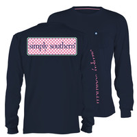 Simply Southern Preppy Collection Logo Long Sleeve Tee in Navy LS-SSLOGO-NAVY