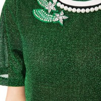 Green Embellished Metallic Sheer Top