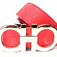 Salvatore Ferragamo Belt | Size 46 or 115 cm | Red Leather | Gold Buckle | RH