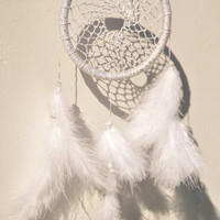 Wall Hanging White / Silver Shiny Dreamcatcher / Dream Catcher wit Amazonite gemstone, wall decor, nursery and bedroom decor, Handmade