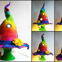felted lamp, witch hat, bedside lamp, night light, handmade, wool, felt, fairy light, Waldorf inspired, READY TO SHIP