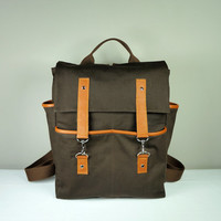Hipster Backpack in Brown Canvas/ Tan Leather/ Unisex Bag/School Bag/Laptop Bag/ New York/ Back To School