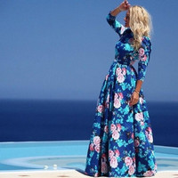 2015 new arrival women dress full length full sleeve print o-neck sexy casual cute bohemian maxi summer dress A40624 = 1928870852