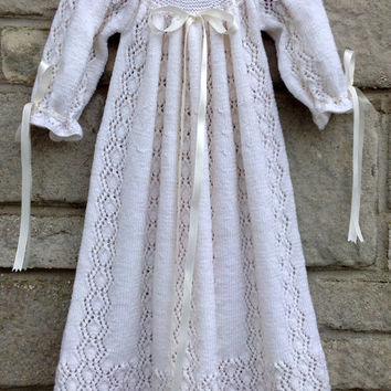 Christening Gown, Baptism Gown, Hand Knitted Christening Robe, Vintage Style, Size 0 - 3 Months
