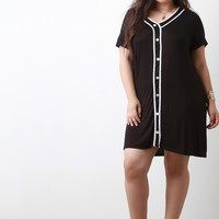 Button Up Sporty Tee Shirt Dress