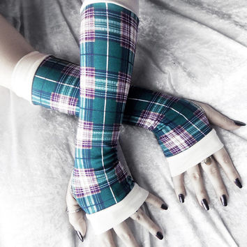 Aurora's Child Arm Warmers - Dark Teal Blue Purple Plum Golden Taupe Ivory Plaid - Yoga Gothic Dark Tribal Goth Gypsy Cycling Hooping Emo