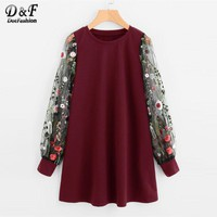 Dotfashion Botanical Embroidered Mesh Sleeve Pullover 2017 Multicolor Long Sleeve Floral Woman Top Round Neck Sweatshirt