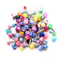 Vcmart Belly Ring Assorted Lot of 25 Banana Piercing 14G Belly Button Rings Piercing Jewelry No Duplicates