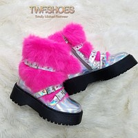 Fur Babies Lug Sole Furry Strapped Combat Bootie Boots Lemonade Silver Hot Pink