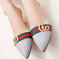 GUCCI Fashion new summer pointed sandals high heels Gray