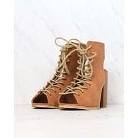 Minimalist Lace Up Peep Toe Heel in Camel