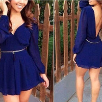 Summer Royal Blue Chiffon Dress