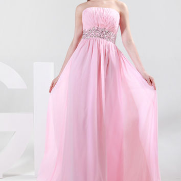 Strapless Ruched Beaded Waist Flounce Maxi Prom Dress